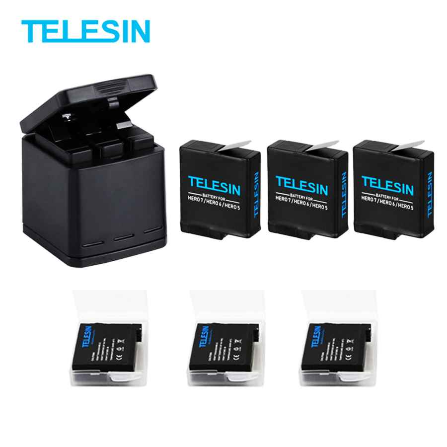 For Gopro Hero 5/6/7/8 Blcak Battery With Three Ports Usb