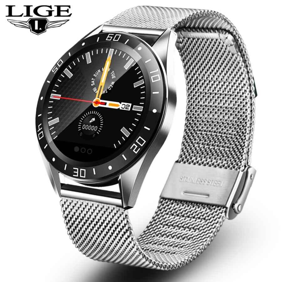 Lige 2019 New Stainless Steel Waterproof Smart Watch Mens Sport
